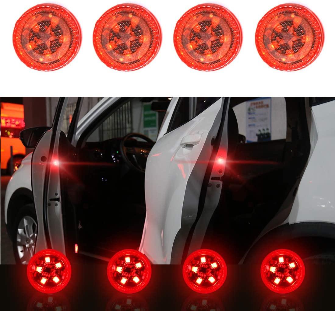 4pcs Car Safety  Light Anti-collision 5 Led Side Door Sensor Warning Light red_5LED
