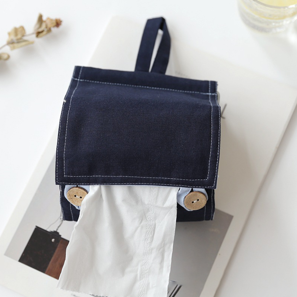 Household Solid Color Cotton Linen Tissue Box