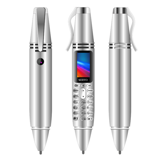Pen-shape Mini Phone Tiny Screen Bluetooth Dialer Mobile Phones with Recording Silver