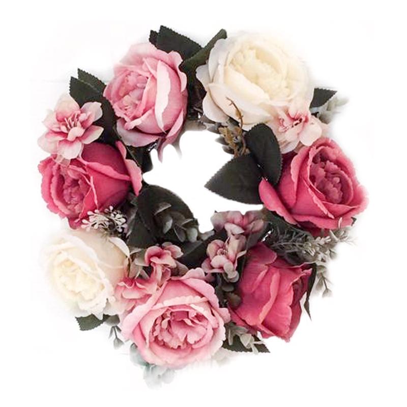 [EU Direct] Simulation Floral Door Wreath Multicolor Artificial Rose Garland for Home Wall Garden Wedding Party Decor 12 Inch Outside diameter 30CM