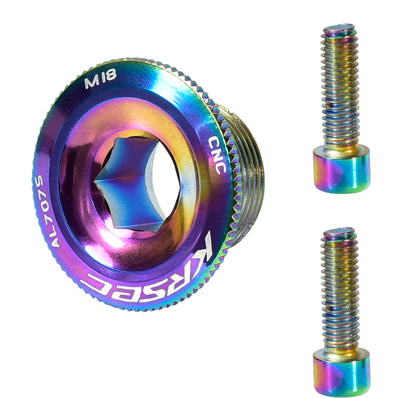 KRSE Crankset Screw M18/M20 Aluminum Alloy Hollow Bike Chain Wheel Right Crank Cap Cover Bicycle Crank Arm Parts M20 colorful crank screw_Crank screw