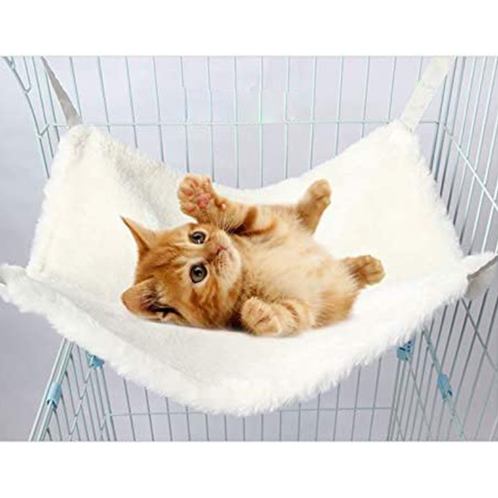 Double-sided Cat Suede Hammock Bunny Sleeping Nest Bed with Hanging Hook Pet Supply S (38 * 33CM)