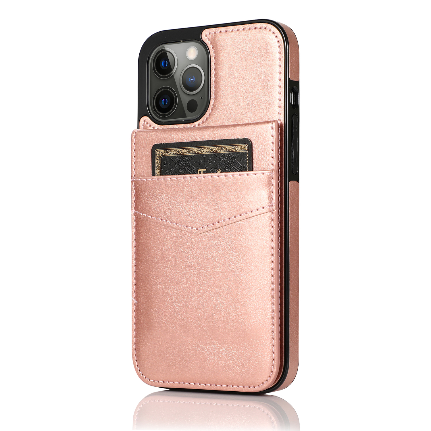 Mobile Phone Case Solid Color Plug-in Card Protective Case Cover For Iphone12 Rose gold_iphone12/pro 6.1