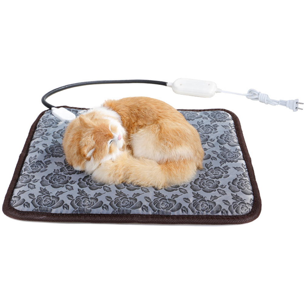 Pet Electric Heated Pad Dog Cat Winter Warm Mat Carpet for Animals Waterproof Adjustable Heating Pad American Plug flowers_45*45cm