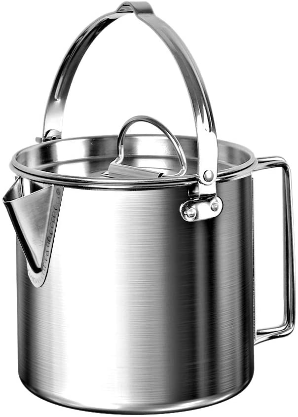 1.2L Outdoor Camping Kettle Stainless Steel Cooking Kettle Lightweight Camping Pot For Hiking Backpacking Picnic  Silver