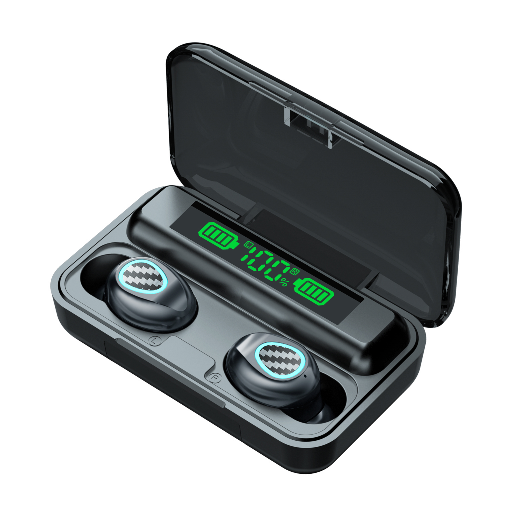 1 Pair Wireless  Bluetooth  Headset R6 Tws Binaural Sports Heavy Bass Mini Earphones black