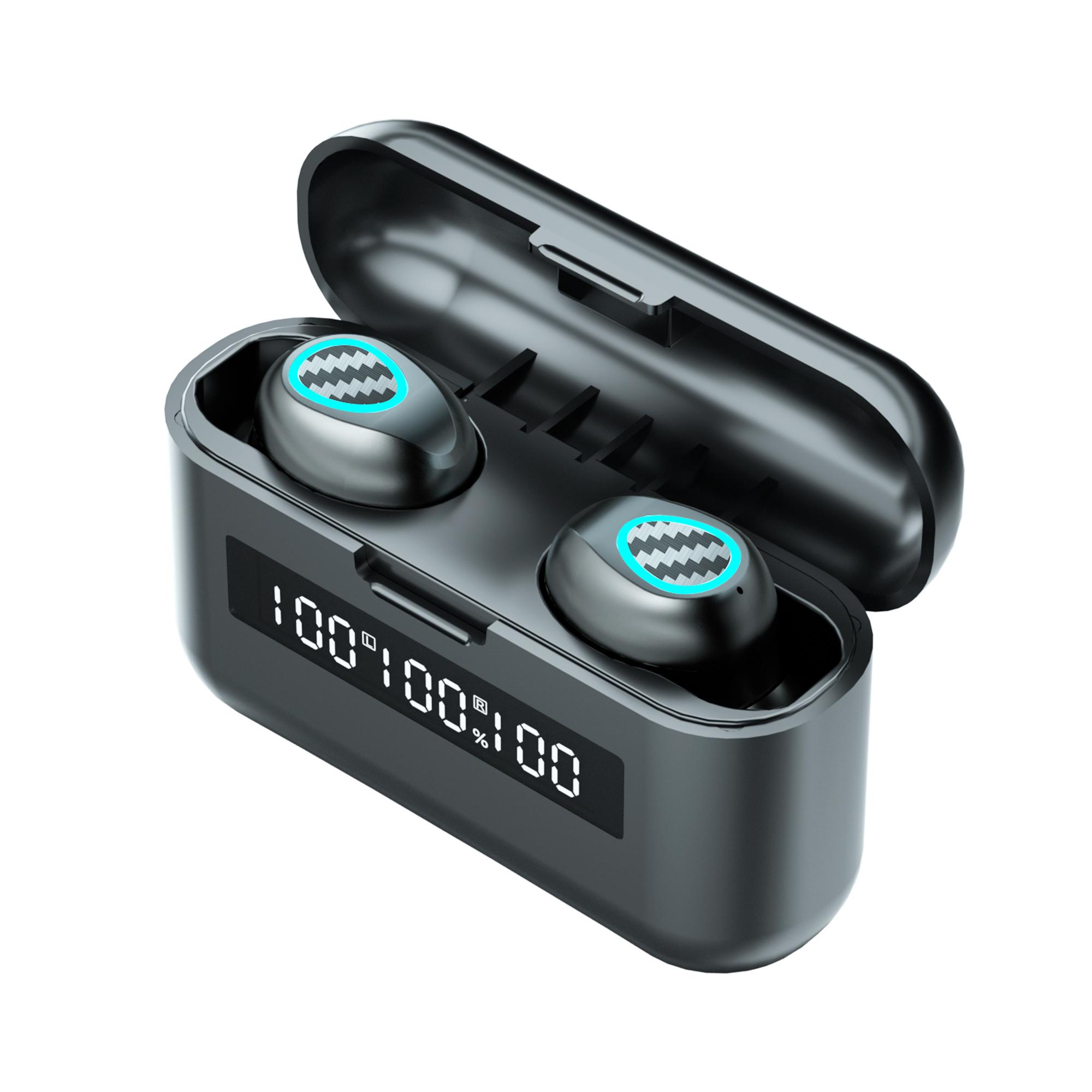 1 Pair Wireless  Bluetooth  Headset R9 Tws Binaural Sports Heavy Bass Mini Earphones black