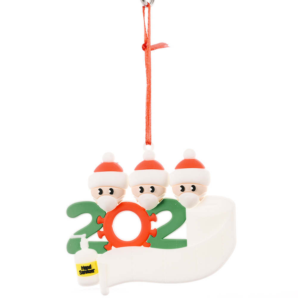 Christmas Ornament Kit with Mask Hanging Pendant Xmas Decor for Family  Mask Santa 3 heads