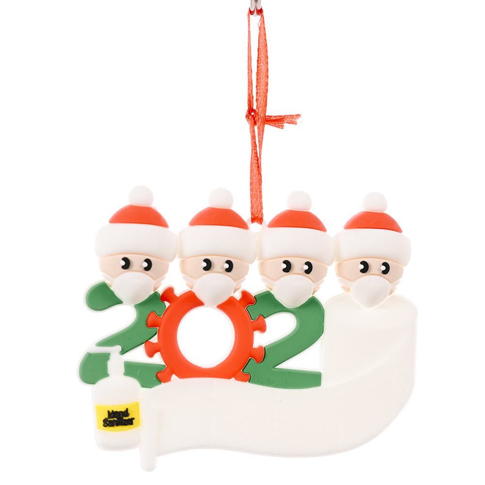 Christmas Ornament Kit with Mask Hanging Pendant Xmas Decor for Family  Mask Santa Claus 4 heads