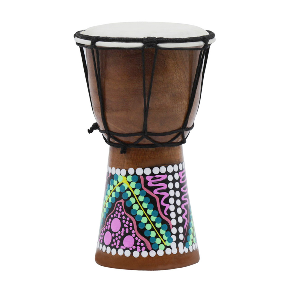 4 inch Djembe Professional African Drum Bongo Wood Musical Instrument Random pattern color_4 inch