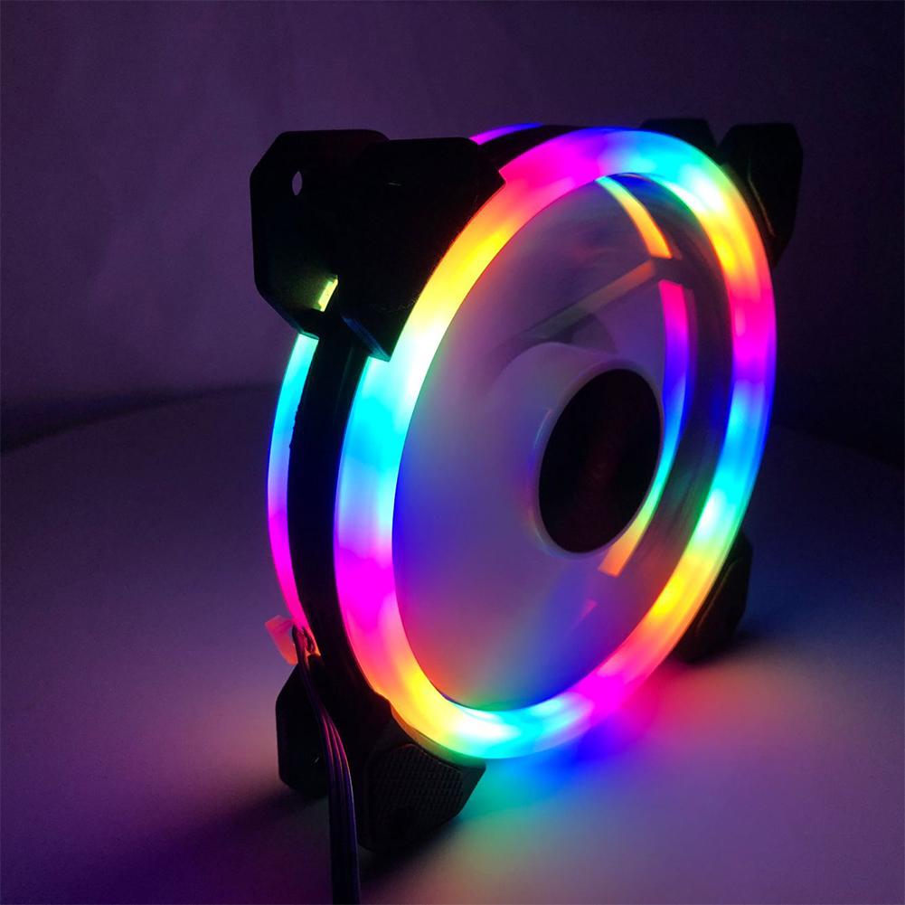 12cm White Light Double-circle LED Fan DC Neon Mute PC CPU Computer Case Cooler Colorful double aperture