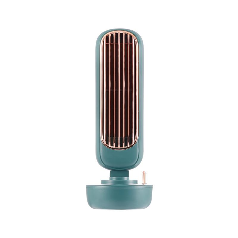 Retro Tower Fan Desktop Silent USB 2 in 1 Water Spraying Fan Air Humidifier Fan green