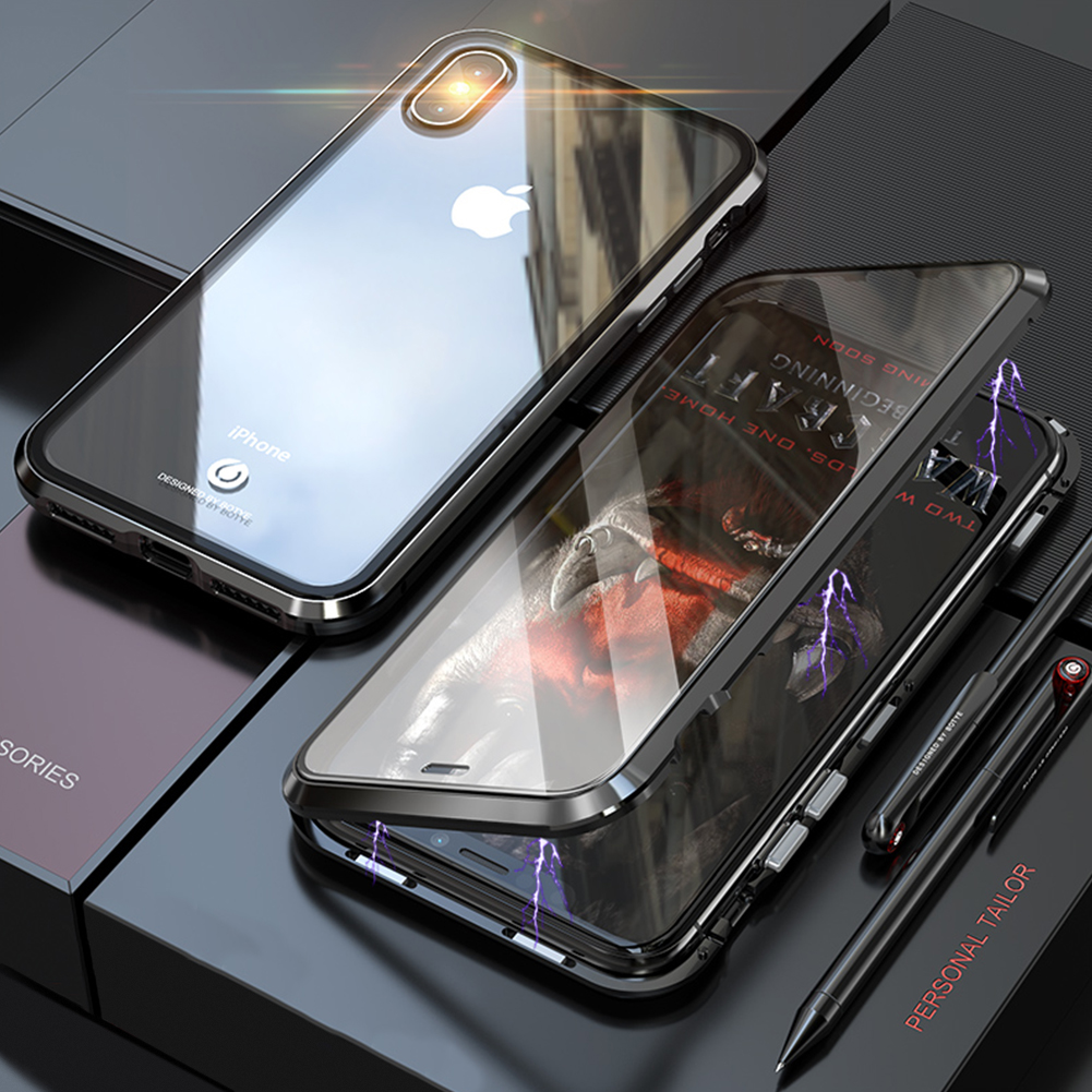 Front + Back Tempered Glass 360 Full Magnetic Case for iPhone X XS MAX XR