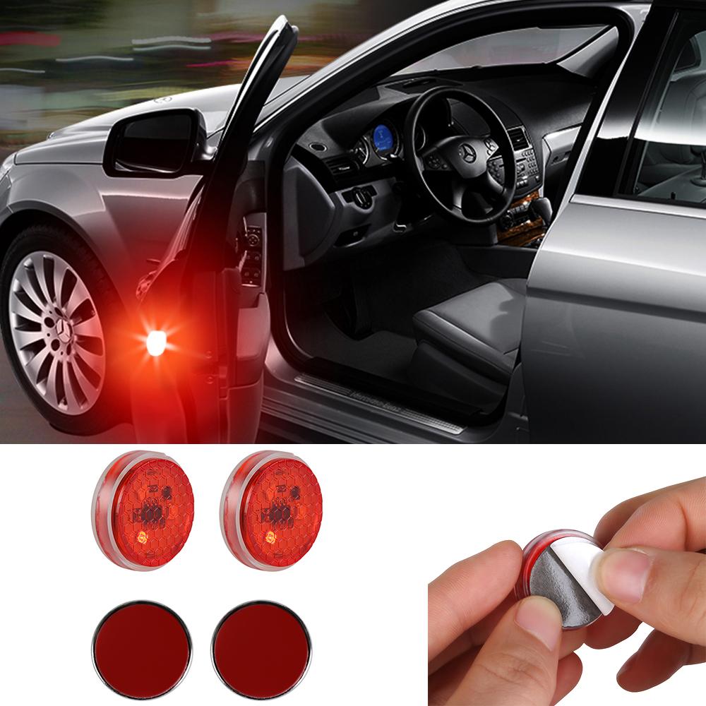 2pcs/Set Led Car Door Anti-collision Warning Light 3LED No Wiring Flash Lamp red