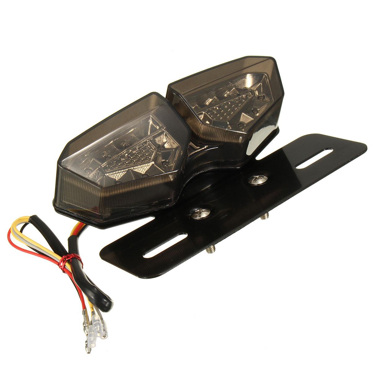 Motorcycle 12V LED Taillight Turn Signal Rear Brake License Plate Light Bracket Smoke lens