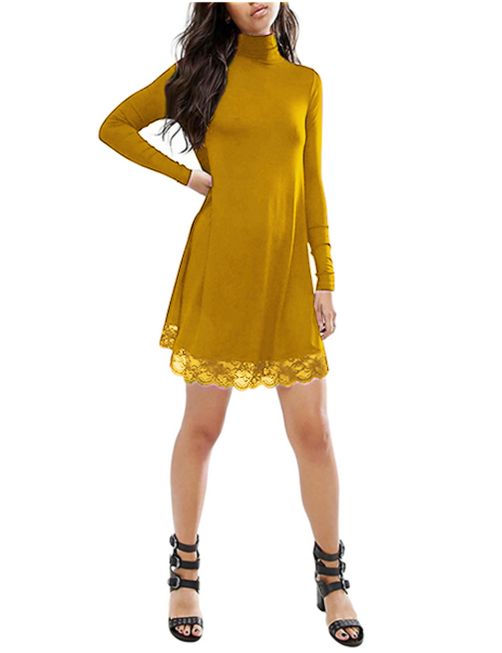 Women Lace Turtleneck Loose Casual Dress