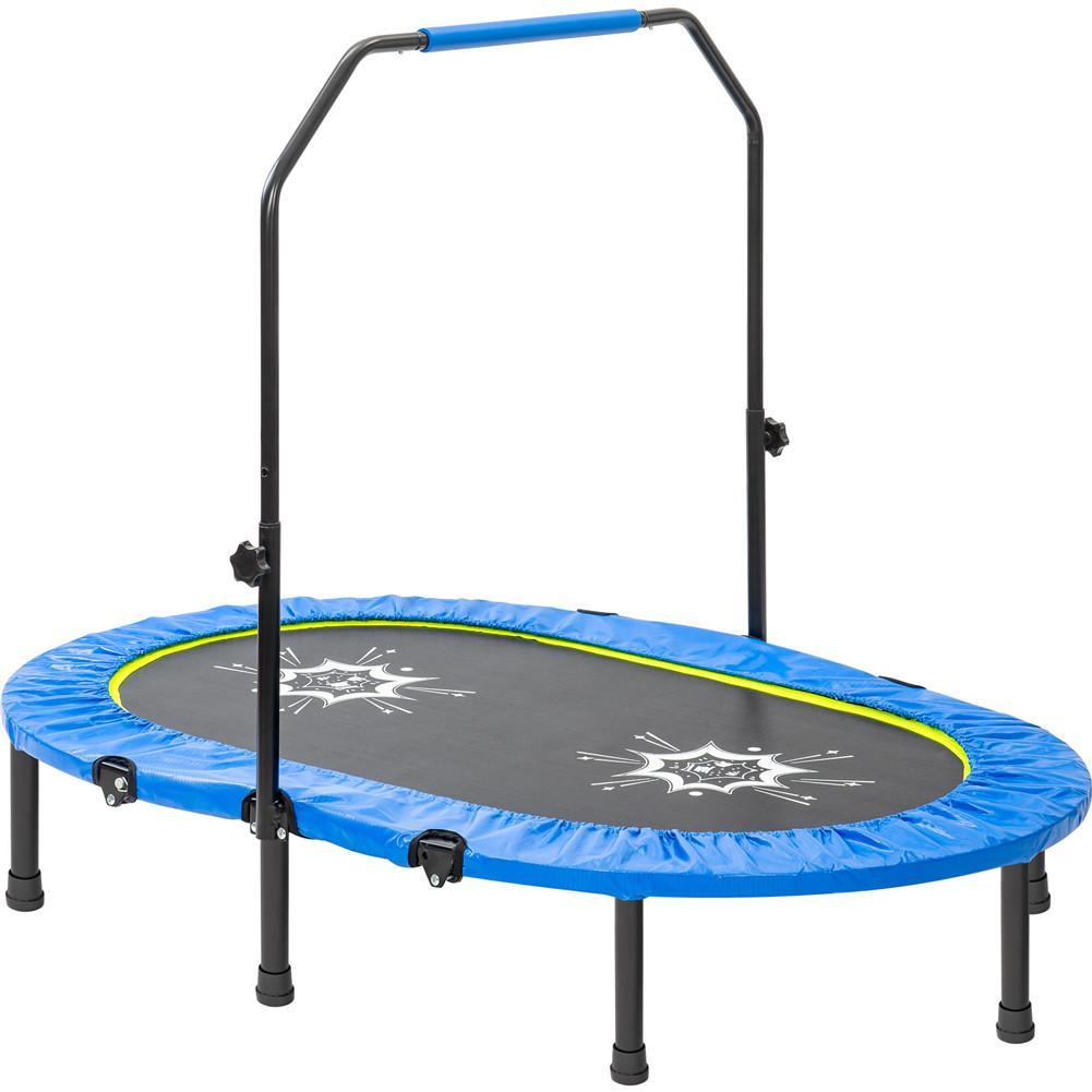 [US Direct] Parent-child Trampoline Adjustable Armrests Mini Double Trampoline For Outdoor blue