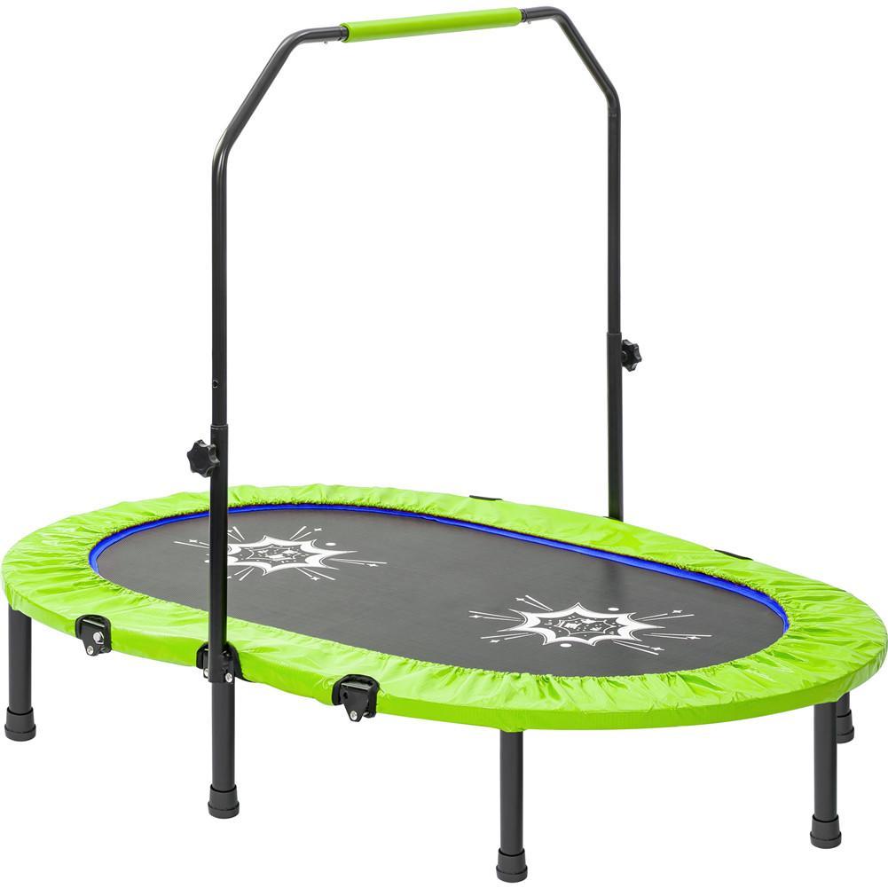 [US Direct] Parent-child Trampoline Adjustable Armrests Mini Double Trampoline For Outdoor green