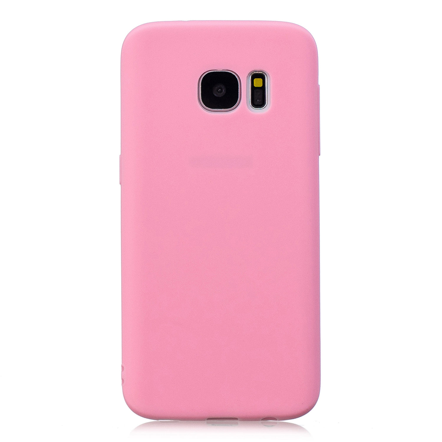 for Samsung S7 Cute Candy Color Matte TPU Anti-scratch Non-slip Protective Cover Back Case dark pink