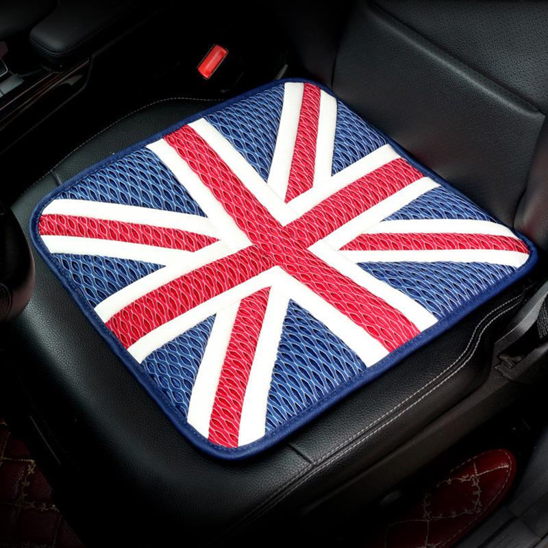 Universal Car Seat Cover PU Ice Silk Cushion Seat  Blue red_43 * 43CM