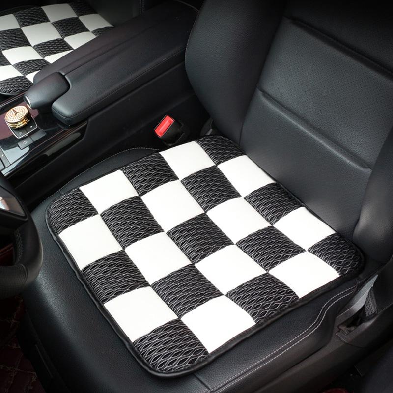 Universal Car Seat Cover PU Ice Silk Cushion Seat  Black and white grid_43 * 43CM