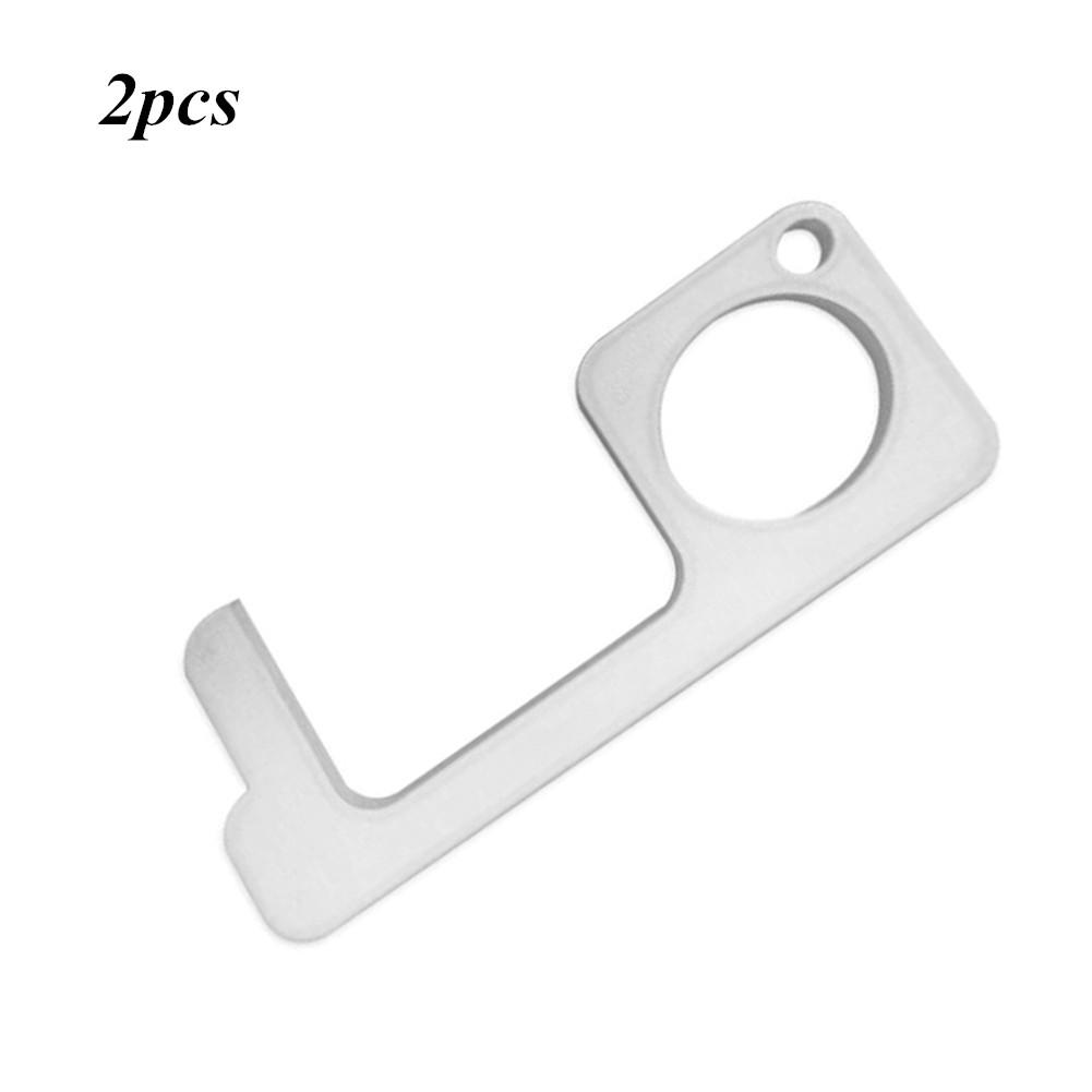 2Pcs Safety Door Opener Non Contact Door Hook Metal Handle for Elevator Silver 2pcs