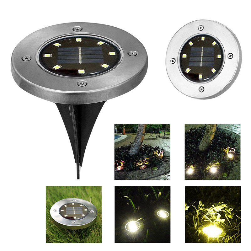 1PC/4PCS 8 LED Outdoor Solar-Powered Lawn Pin Lamp with Warm White Light Stainless Steel Yard Garden Light Decoration 1pc