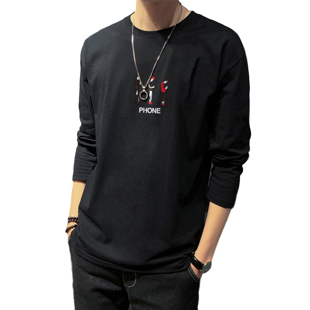 Men's T-shirt Autumn Long-sleeve Thin Loose Cartoon Printing Bottoming Shirt  black_L
