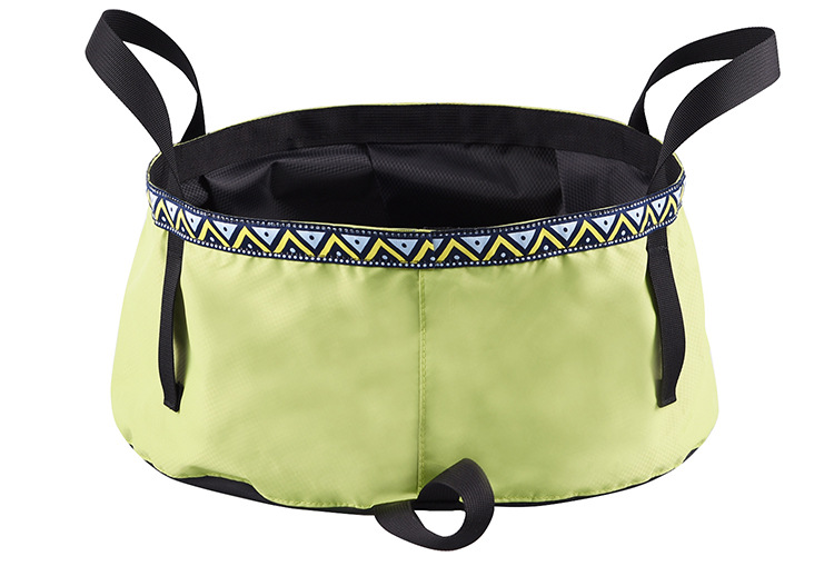 6/8/12L Folding Washing Basin 8.5L Outdoor Hiking Camping Bucket Portable Water Pot Bean green_8L