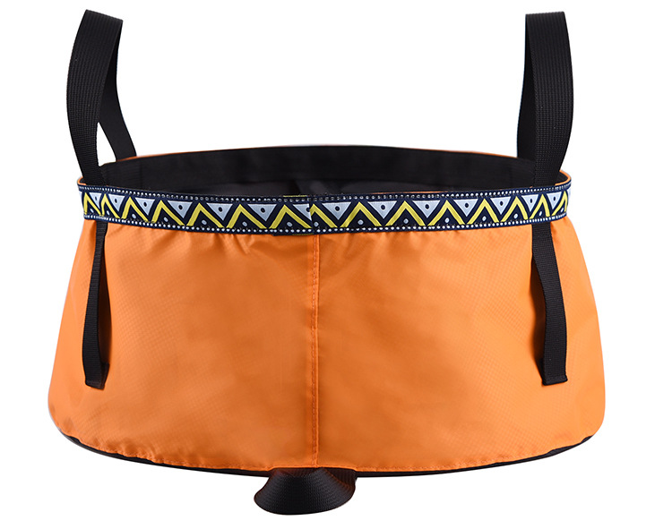 6/8/12L Folding Washing Basin 8.5L Outdoor Hiking Camping Bucket Portable Water Pot Orange_8L