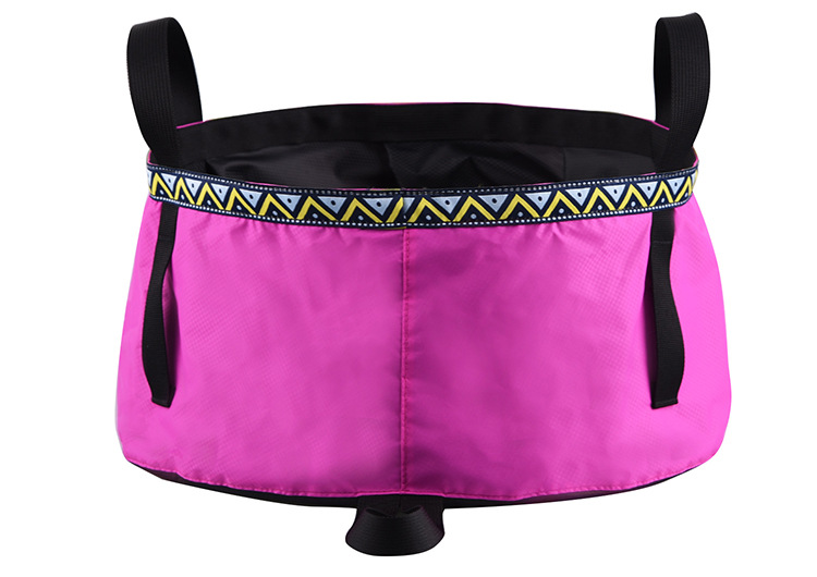 6/8/12L Folding Washing Basin 8.5L Outdoor Hiking Camping Bucket Portable Water Pot Magenta_8L