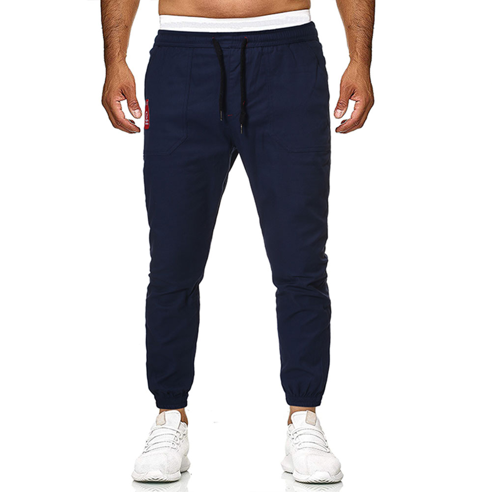 Men's Casual Pants Spring and Autumn Overalls Cotton Fine Canvas Slim Business Pants Navy_M
