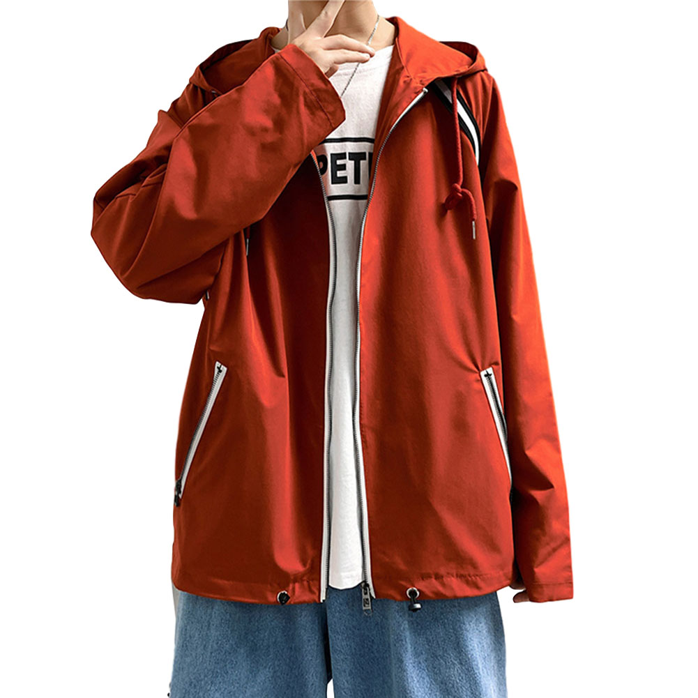 Men's Jacket Autumn Loose Solid Color Large Size Hooded Cardigan Orange_M