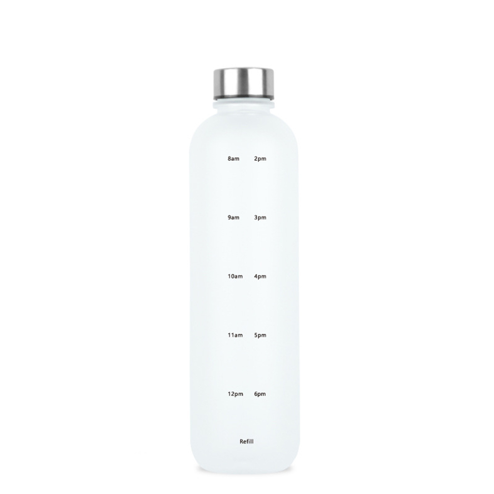 1000ML Space  Cup Time Marker Portable Outdoor Sports Bottle Frosted Gradient Color Cup White