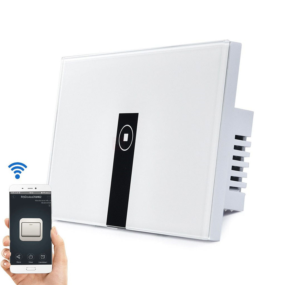 WiFi Smart Touch Switch APP Remote Control Switch Voice Control (U.S. Plug 1 Channel) Black and White