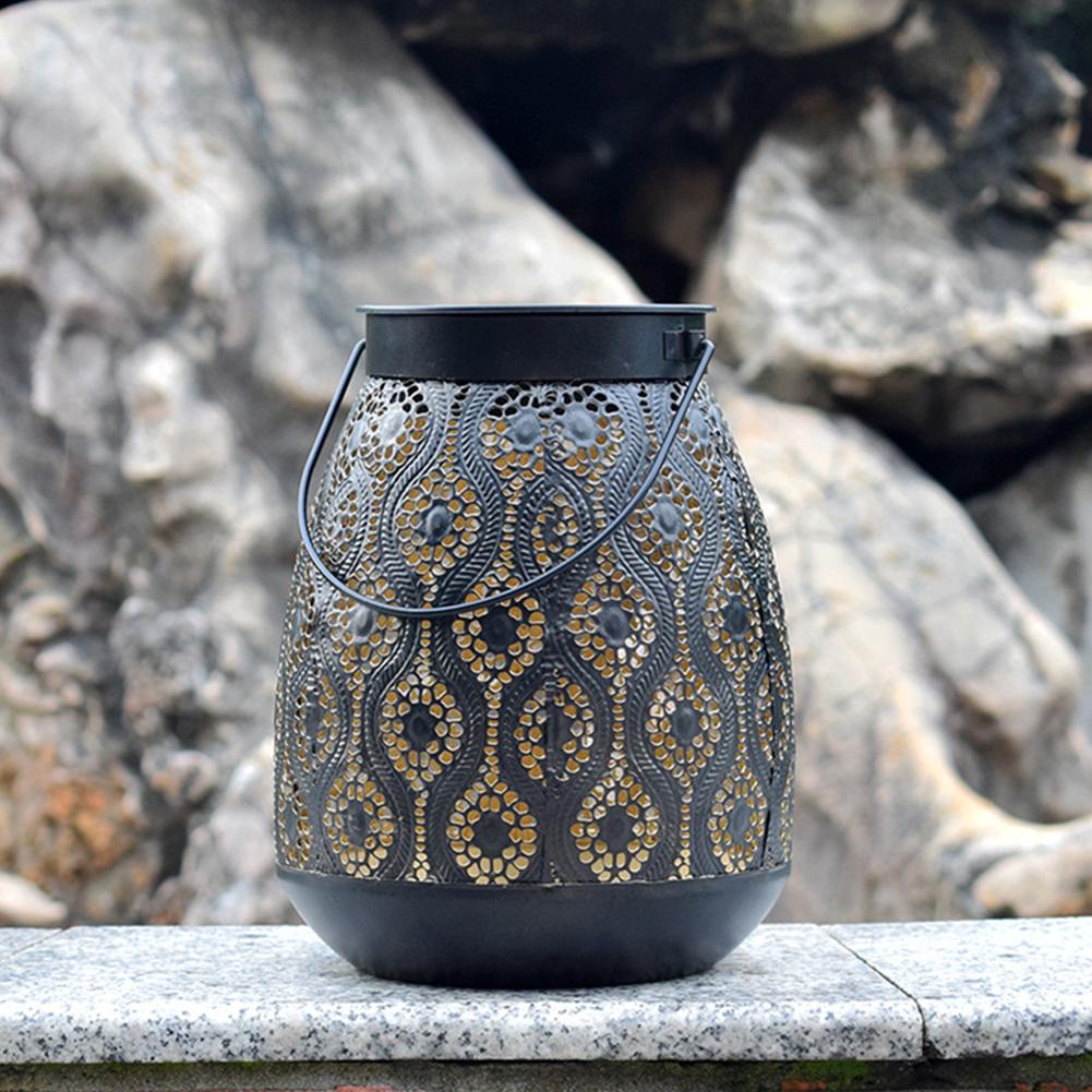 LED Solar Iron Art Waterproof Pendant Lamp for Outdoor Courtyard Landscape Decor