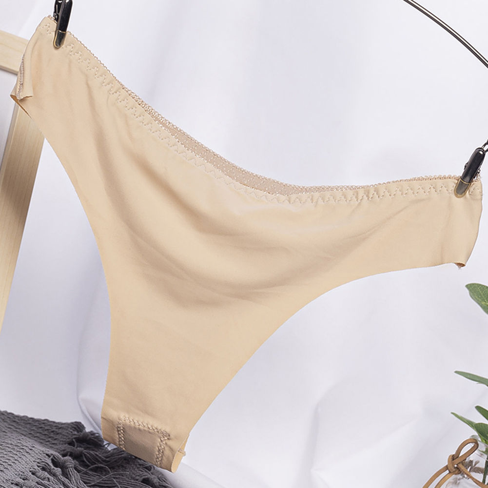 Women G-string Cotton Crotch Seamless Solid Color Low Waist Sexy Underwear Erotic Briefs Panties apricot_One size