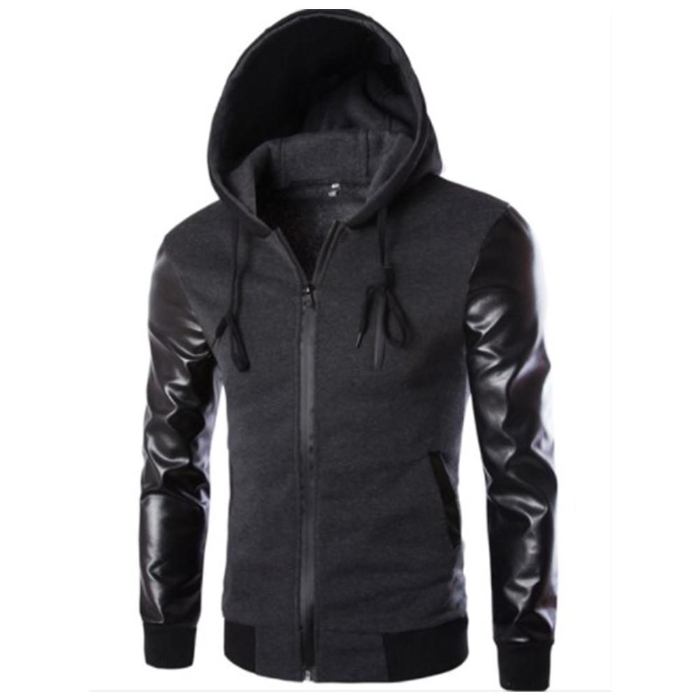 Men Casual Fashion Slim Long Sleeve Hooded Jacket Coat Tops Dark gray_M