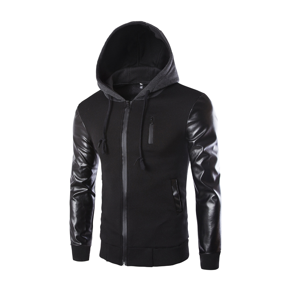 Men Casual Fashion Slim Long Sleeve Hooded Jacket Coat Tops black_L