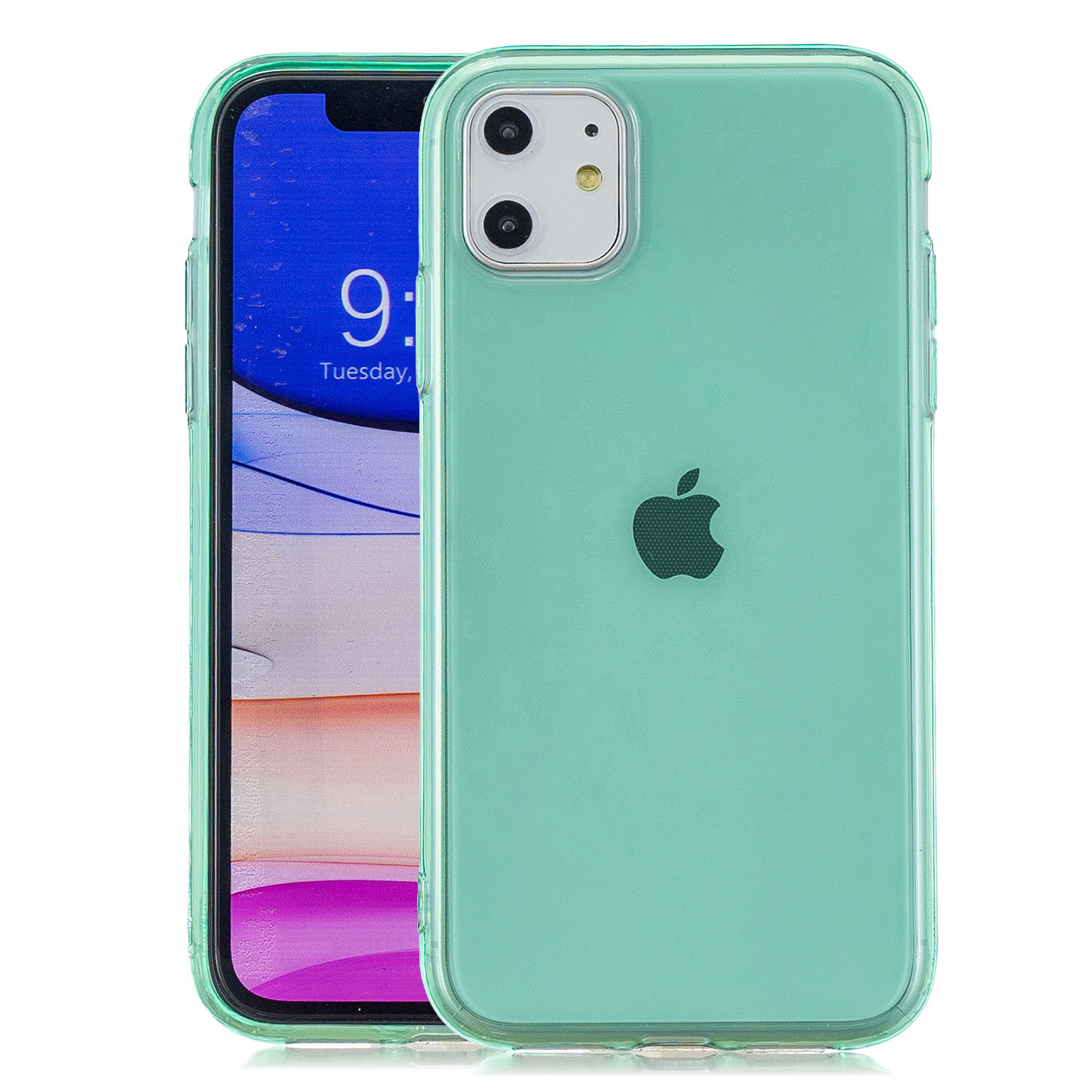 for iPhone 11 / 11 Pro / 11 Pro Max Clear Colorful TPU Back Cover Cellphone Case Shell Green