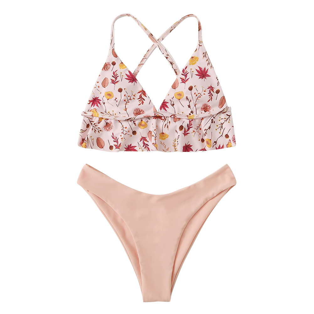 2 Pcs/set Women Swimming Suit Sexy Printing Top+ Solid Color Shorts Pink_L