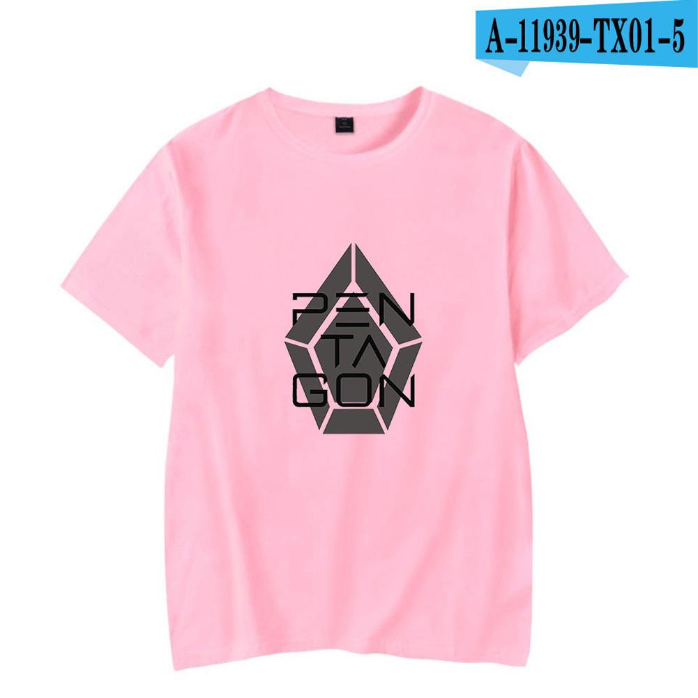 Men Women Summer Seventeen Korean Group Casual Loose T-shirt A pink_M