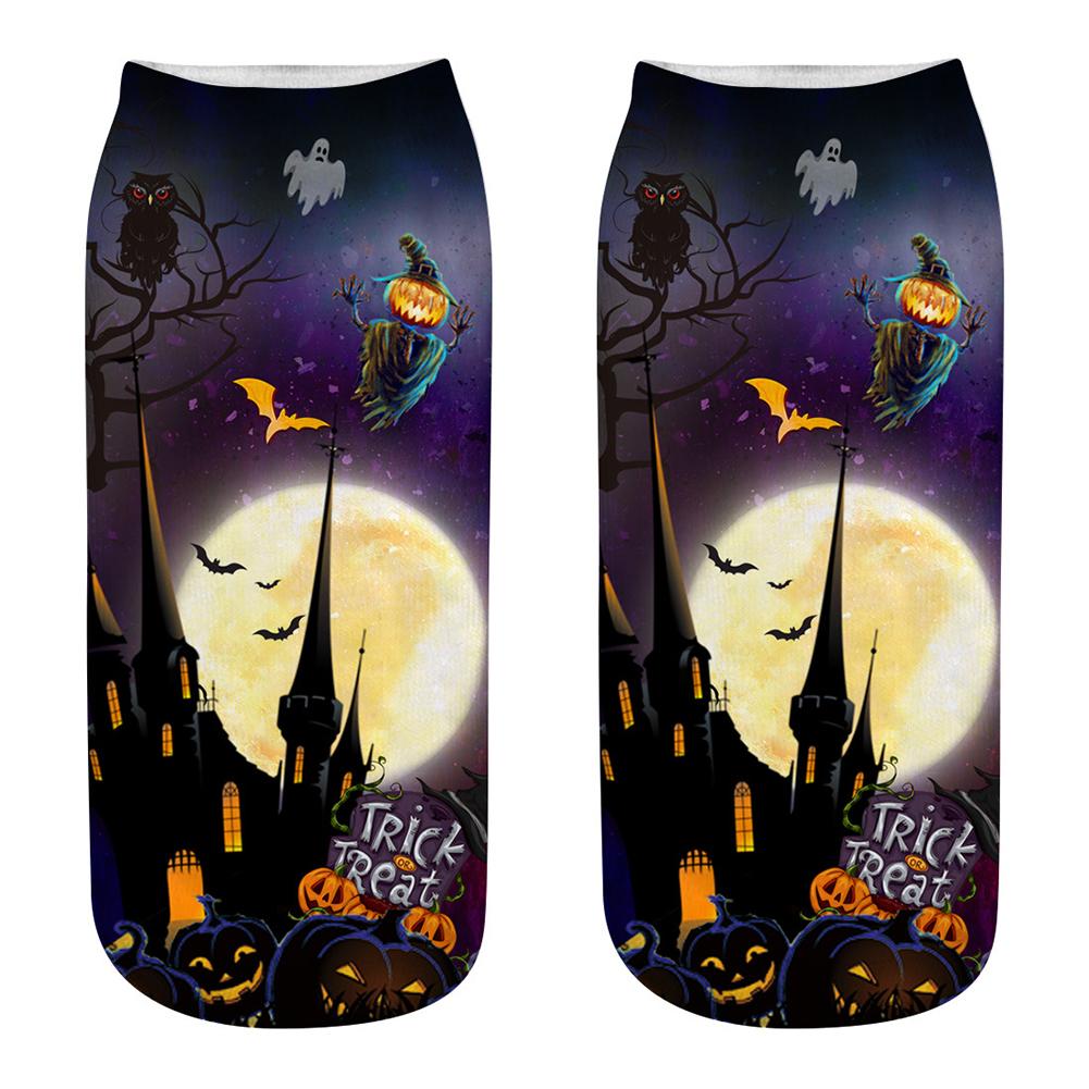 Unisex Cartoon 3D Halloween Element Printing Socks Breathable Sweat-Absorbent Socks   WSJ18_one size
