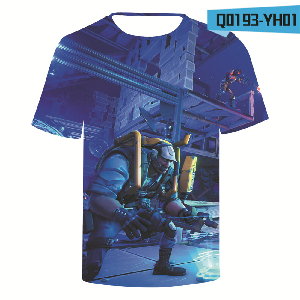 Casual 3D Cartoon Pattern Round Neck T-shirt Picture color Q_S