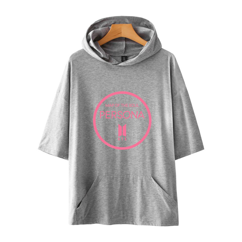 Men Fashion Hooded Shirts Short Sleeve Pattern Casual Tops Gray A_L