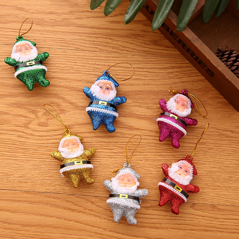 6pcs Plastic Christmas  Decorations Santa Claus Ornaments Pendant Accessories Six pendants for the elderly [6 pcs/1 pack]