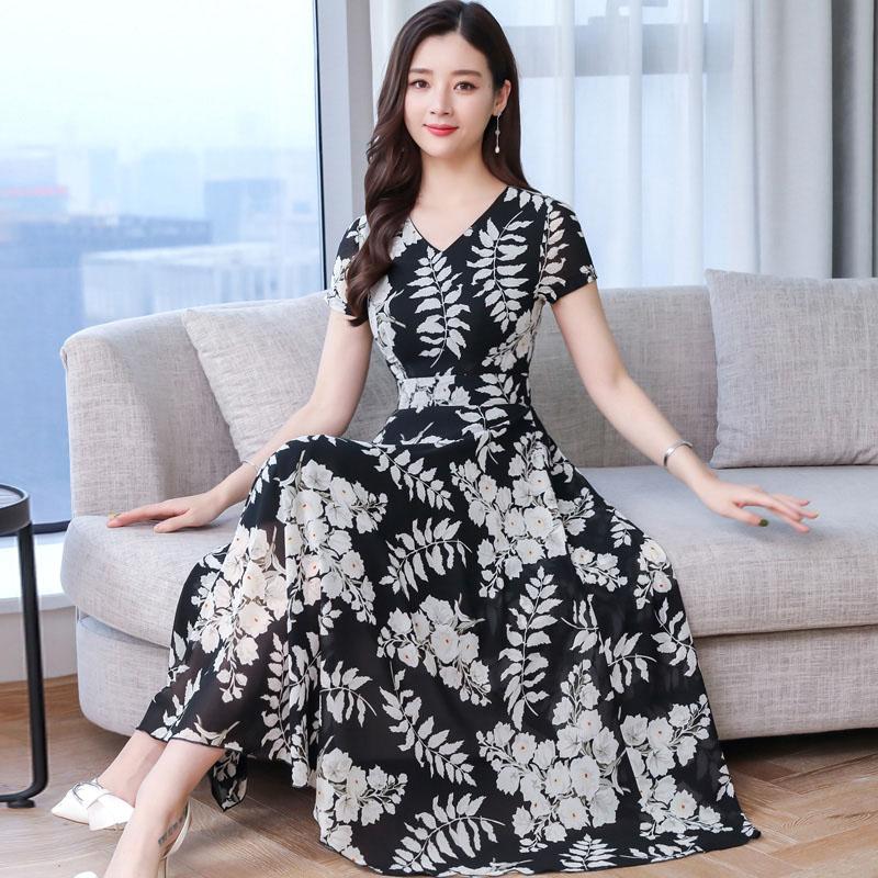 Women Summer Short Sleeve Fashion Printed Long Waisted Dress black white flower_M