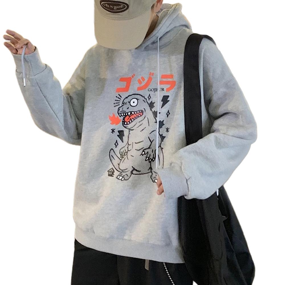 Man Woman Oversize Hoodie Spring Autumn Loose Cartoon Dinosaur Printing Pattern Drawstring Hoodie Gray_XL