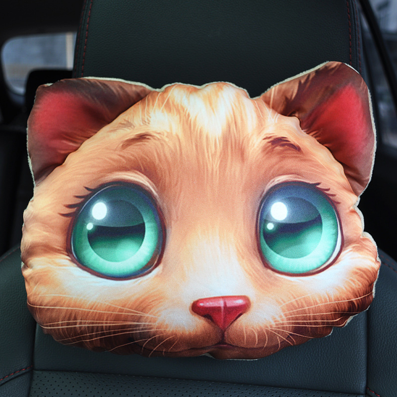 3D Printed Dog Cat face Car Headrest Neck Rest Auto Neck Safety Cushion / Car Neck Support Headrest