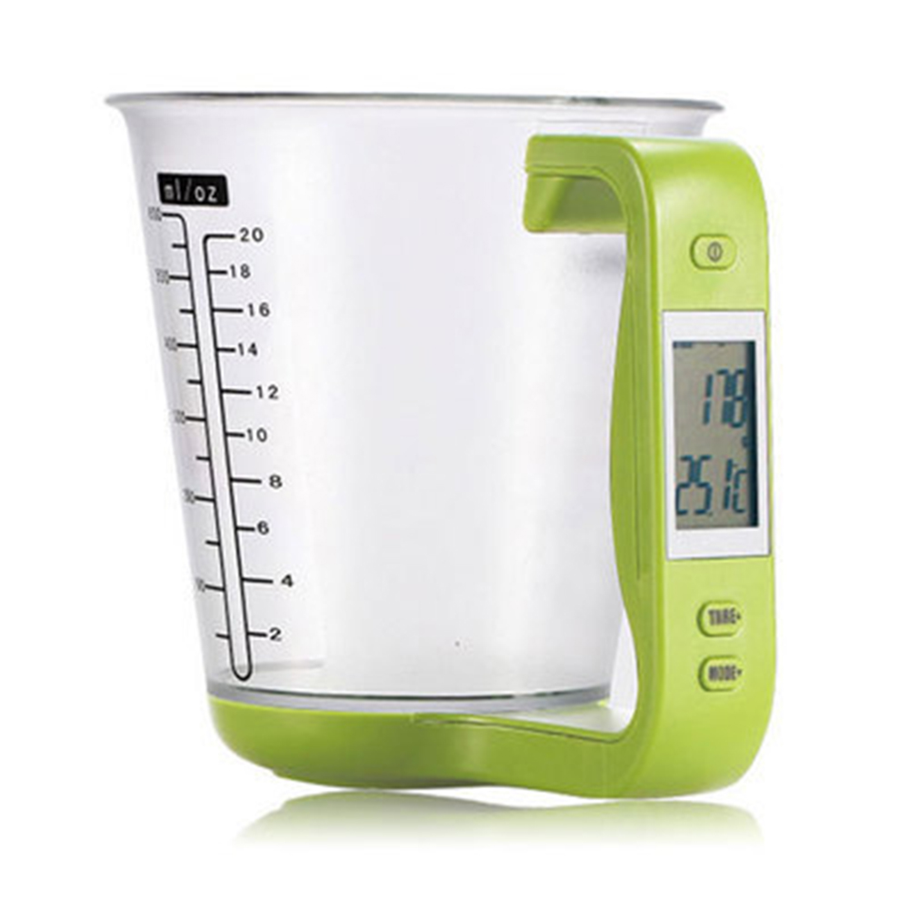 Multifunction Electronic Scale Digital Measuring Cup Scale for Kitchen green